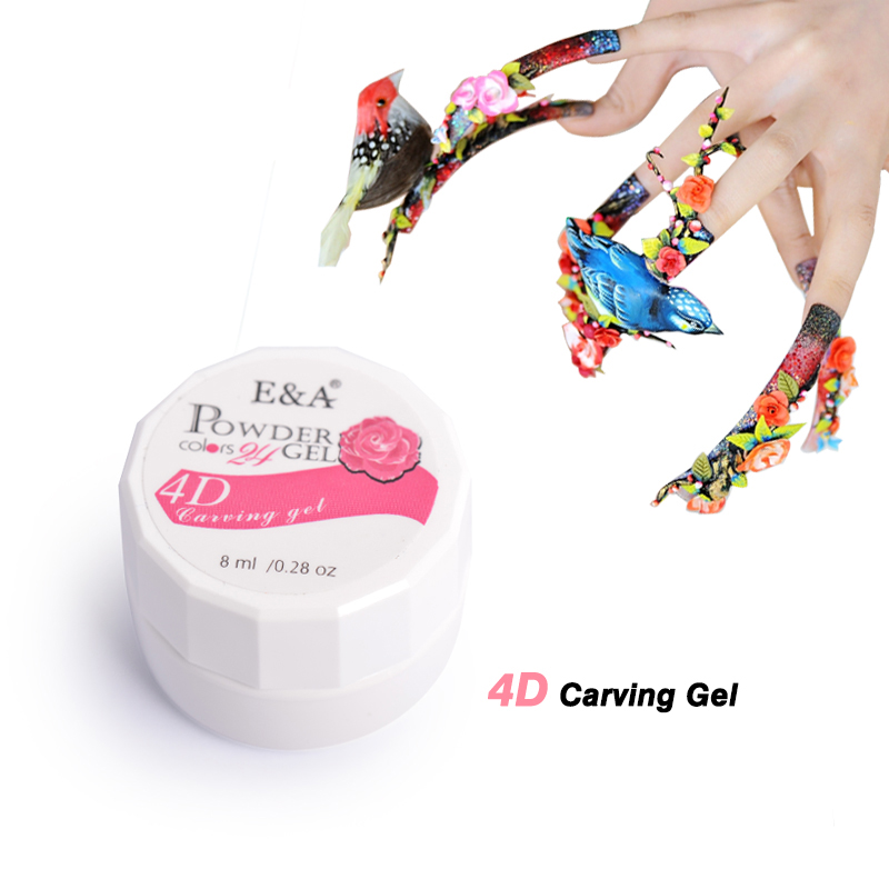 E&A 24 Colors Nail Art Design 3D UV Gel Professional Nail Painting Sculpture Gel(China)