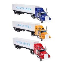 1:42 American Container Truck Alloy Vehicles Model Race Cars Alloy Diecast Car Truck Educational Inertial Truck Model Toy(China)