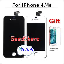 1 piece Best Price AAA Quality For iPhone 4s/4 LCD Screen Display with Digitizer Assembly Replacement Black/White Free Shipping