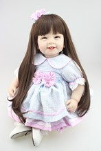22inch 55cm Reborn Toddler baby doll lifelike sweet girl real gentle touch uniquebaby doll glue wig long wig for kids