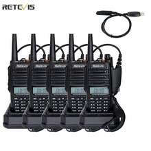 5 pcs Retevis RT6 Walkie Talkie IP67 Waterproof 5/3/1W 128CH Dual Band VHF/UHF Frequency Portable Two Way Radio+A USB Cable