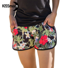 KISSyuer Quick-drying Red Flowers Brand Shorts for Women Black Lovers Beach Couple Women Board Shorts KBS1016