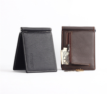 Men Wallets First layer 100% Genuine Leather Black Coffee Personality Design Wallet Short Style Card Holder Purse Free Shipping