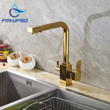 Single Lever Two Handle Kitchen Sink Hot Cold Water Taps with Pure Water Faucet