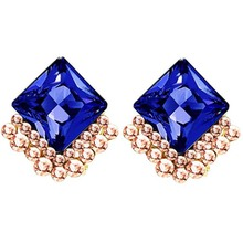 2017 magazine popular design fashion earrings geometric birthday gift austrian crystal setting red women clip Jewelry 80364