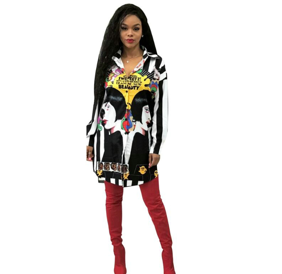 Womens Tops and Blouses 2018 Tunic Women Long Sleeve Sexy Black Plus Size Loose Flower Printed Womens Blouses 02234