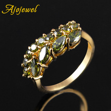 Ajojewel Delicate Leaf Designer Cubic Zircon Green Ring Size 8 Women Brass Fashion Finger Jewelry Bijouterie