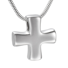 IJD9925 Stocky Cross Keepsake Necklace Jewelry Stainless Steel Cremation Ashes Urn Pendant Necklace Religion Memorial Necklace