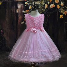 2017 summer flower girls rose lace bow party princess dress children elegant mesh wedding good quality party dresses clothes D62