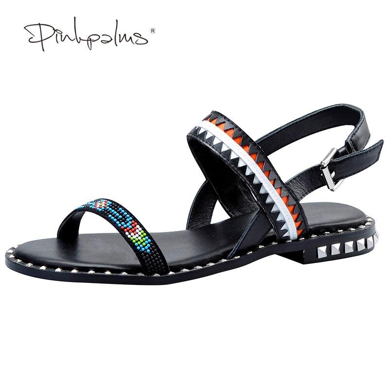 Pink Palms 2017 women summer shoes string beads flat sandals for women roman shoes metal decoration flat sandals<br>