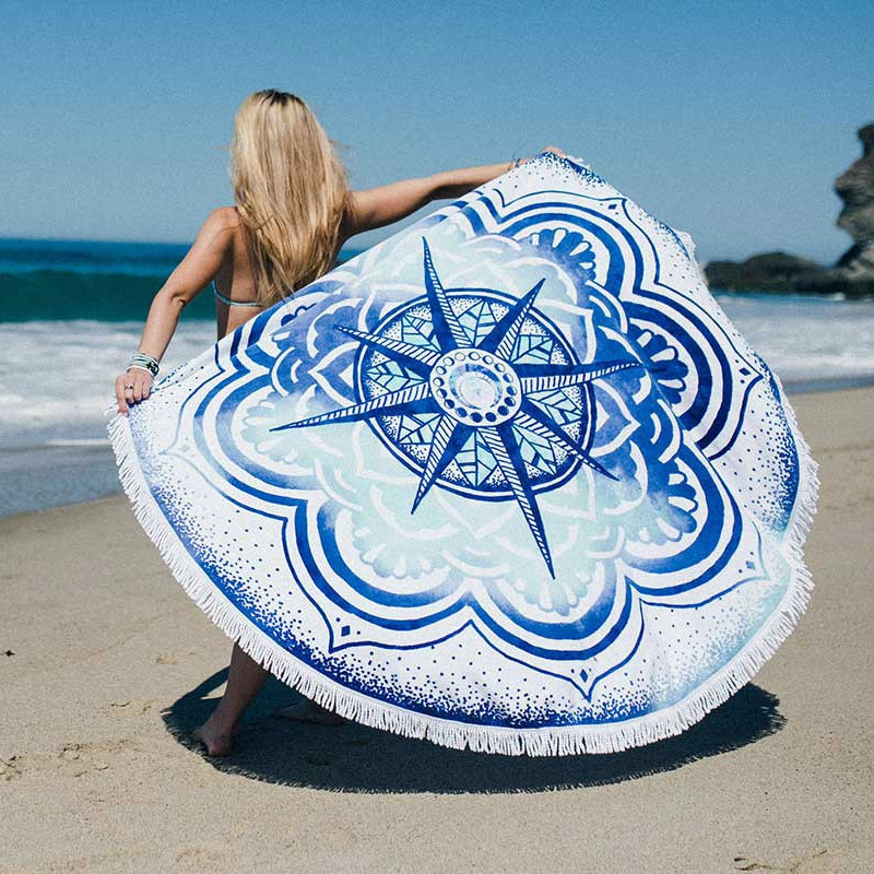 150CM Bohemia Printed Round Circle Beach Towel For Adults Outdoor Tassel Sunbath Yoga Blanket Turkish Bath Towels(China (Mainland))