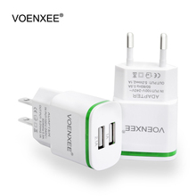 VOENXEE Travel USB Charger Adapter EU US Plug 2 Ports Led Light Wall Mobile Phone Charging Charger for iPhone 7 6 iPad Tablet