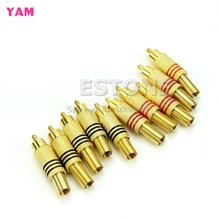 10Pcs Metal Spring RCA Plug Audio Male Connector Adapters Gold Plated #G205M# Best Quality(China)