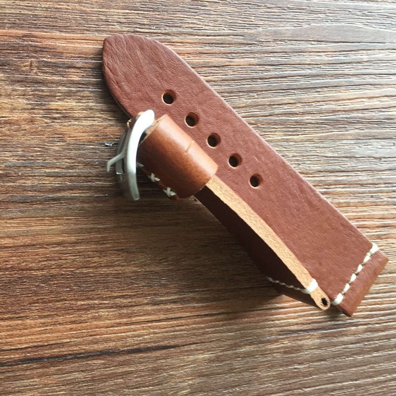 Hight Quality Handmade 26MM Red Brown Genuine Leather Thick Watch band Strap For Garmin Derek Fenix 3 For PAM Replace Bracelet<br>