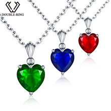 DOUBLE-R 2.72ct Created Emerald Sapphire Red Ruby Pendants Solid 925 sterling silver Heart Necklaces(China)