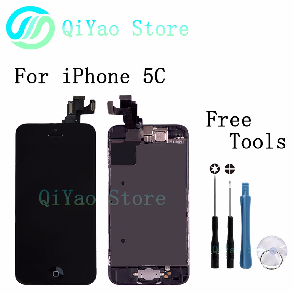 For iPhone 5C Black Replacement LCD Screen Touch with bezel frame+home botton+front camera full assembly with free tools<br><br>Aliexpress