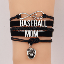 (10Pcs/Lot) Infinity Love Charm Bracelet Baseball Mom Bracelets & Bangles Handmade Leather Baseball Glove Charm Women Jewelry