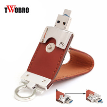 2 in 1 Leather USB OTG Flash Drive 64GB 32GB 16GB 8GB 4GB Dual Micro-USB Memory Stick for Android Smartphones Computers Laptops(China)