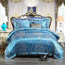 4/6pcs King Queen size Jacquard Bedding set luxury royal bedding set bedsheet set duvet quilt cover Pillowcases(China)