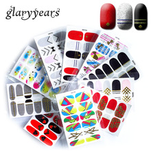 glaryyears 10 Pieces/lot Full Cover YQ Nail Art Decal Red Wedding Metal Gold Glitter Silver Nail Sticker Manicure Decoration Hot(China)