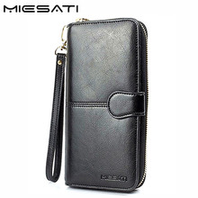 MIESATI 100% genuine leather wallet female womens wallets and purses walet ladies girl small slim brand women clutch bag handbag(China)