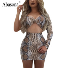 Abasona One shoulder long sleeve bodycon party Mini short dress women 2 pieces set sexy Club wear snake skin print bandage dress