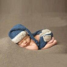 Bebé fotografía props recién nacido traje ropa infantil Niñas Niños sombrero  Pantalones Punto de ganchillo ropa foto sombrero pa. 13854aa545b9