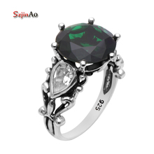 Szjinao Manufacturers Authentic Fashion Ring Antique Crown Green Crystal Wedding Ring 925 Sterling Silver Rings for Women(China)