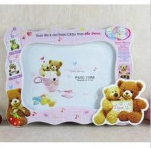 Free shipping baby child photo frames 7 inch cute bear cartoon frames plastic photo frames 4 colors