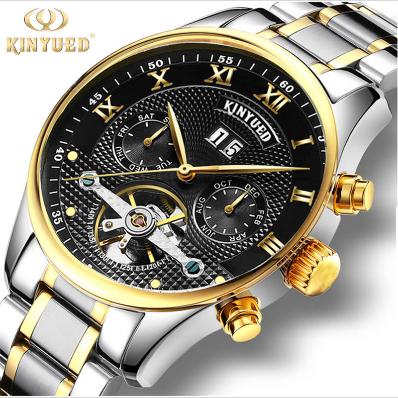 KINYUED brand Tourbillon Mechanical Watch Men Stainless Steel Strap band Waterproof Automatic Mens Watch relogio masculino<br>