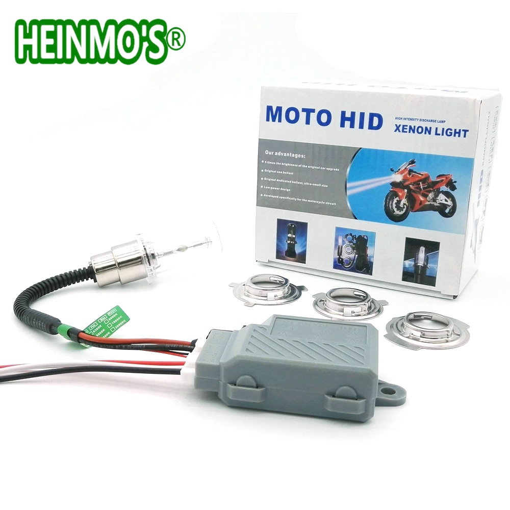 Motorcycle 35W HID Xenon Head Light Bulb Kit H4 HiLo Headlight Bulbs Moto HID Xenon lamp BA20D H6 4300K - 6000K 8000K Ballast (6)