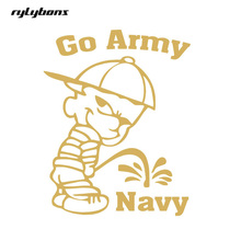 Rylybons New Arrival 19.23*15.24cm Funny go army beat navy Car Decals Window Laptop Stickers car styling Dropshipping(China)
