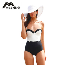 Sexy Patchwork Swimwear Women One Piece 2017 Bodysuit Trikini Swimming Suit for Women Bathing Suits Maillot De Bain Femme(China)