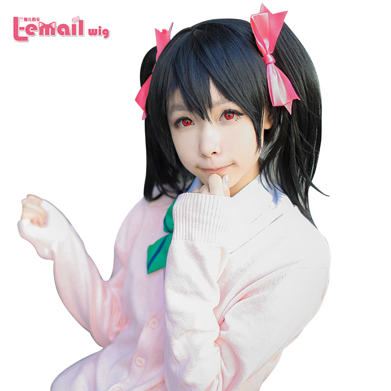 Synthetic Hair Heat Resistant Fiber Short Black Ponytail Nico Yazawa Cosplay Love Live Wig Ponytail<br><br>Aliexpress