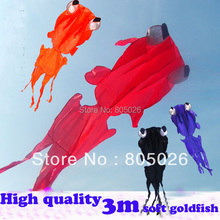 free shipping high quality new design 3m soft goldfish kites with handle line outdoor toys weifang albatross kites octopus