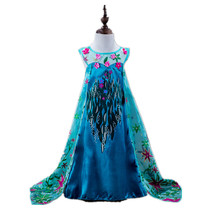 2015 Kids Snow Queen Costume Anna Elsa Dress For Girls Party Princess Dress Long 3D Floral Children Carnival/Christmas Costume