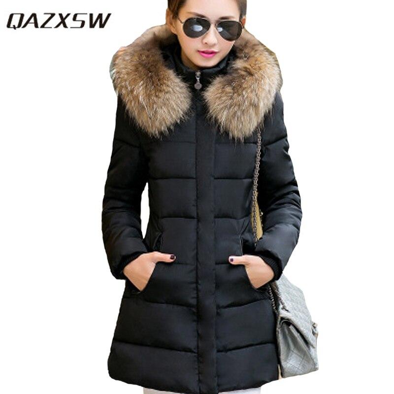 QAZXSW Large Size Cotton coat 2017 New Fashion Long Winter Cotton Jacket Women Slim Thicken Hooded Coat Fur collar coat YX8878Îäåæäà è àêñåññóàðû<br><br>
