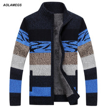 Aolamegs Men Sweater Fashion Contrast Color Autumn Winter Thick Warm Plus Velvet Sweater Cardigan Male Knitting Sweter Hombre(China)