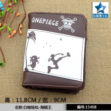 Japanese Anime One Piece Chocolate PU Short Wallet Chopper/Brook/Usopp Purse With Zipper