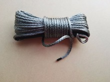 Free Shipping 6mm*15m Grey ATV Winch Rope , Synthetic Winch Rope,Kevlar Winch Cable with thimble,ATV Winch Line