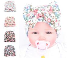 Newborn Baby Floral Hat Big Bow Baby Hat Organic Cotton Spring Autumn Hat Newborn Hospital Hat Baby Infant Gift(China)