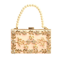 New arrival ladies pink Acrylic evening bag crystal pearl chain clutch bags high quality diamond wedding flower shoulder bags