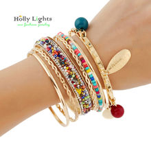2017 women boho charms bracelet&bangles colorful bohemia arm cuff big Gold-color tribal ethnic bangle set tassel pulseiras hot