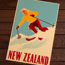 Ski in New Zealand Skiing Vintage Retro Decorative Poster DIY Wall Home Bar Posters Home Decor Gift