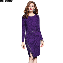 Purple Lace Pencil Dress Women Embroidered Spring Formal  Beading Design Elegant Slim Long Sleeve High Quality Party Vestidos