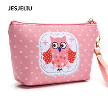 Hot Owl Handmade Cosmetic Bag Toiletry Animal Cartoon Coin Purse Short Key Bag Wallet Case Card Holder Mini Pencil Bag New(China)