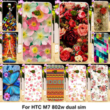 TAOYUNXI Silicone Phone Case for HTC ONE M7 802W Dual Sim 802D 802T 4.7 inch Case TPU Flowers Roses Eiffel Tower Cover Bag