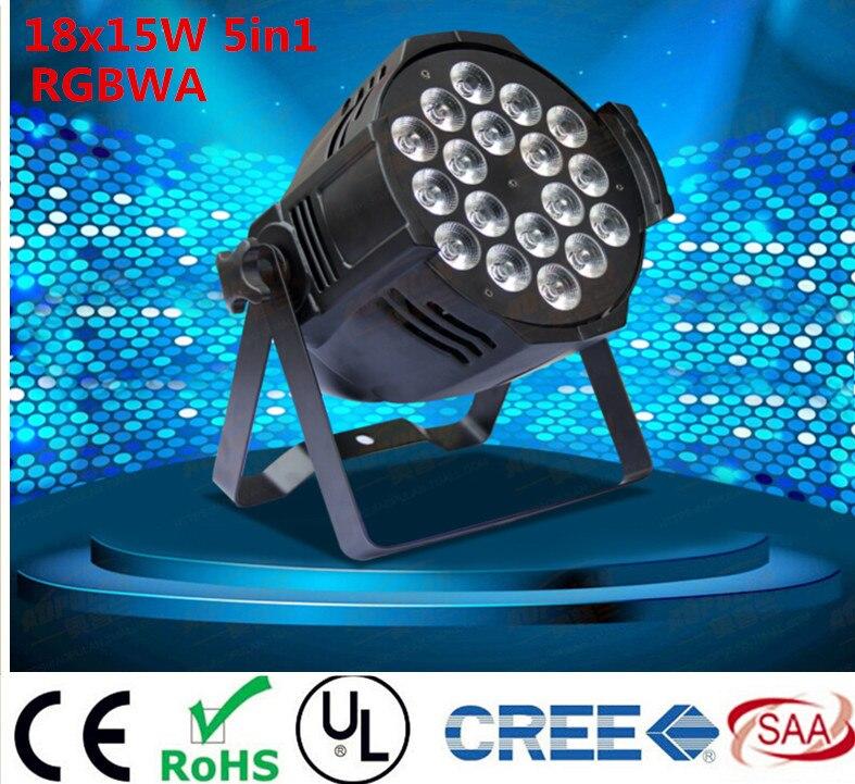 6PCS  18x15W Led Par Light RGBWA 5in1CREE LED Par  LED Luxury DMX 6/8 Channels Led Flat Par Lights<br><br>Aliexpress