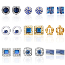 High Quality Cufflinks Classic Fashion blue crystal crown Ball designs material men cufflinks whoelsale&retail(China)
