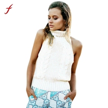 Feitong Women Casual Turtleneck Tank Tops Sexy Backless Sleeveless Knitted Sweater Vest Crop Top Party Clubwear Tops Cropped New(China)
